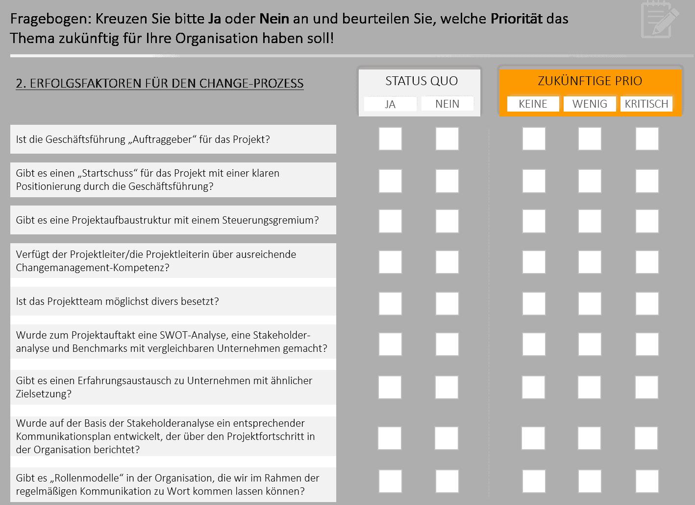Auszug Checkliste Reifegrad einer Organisation